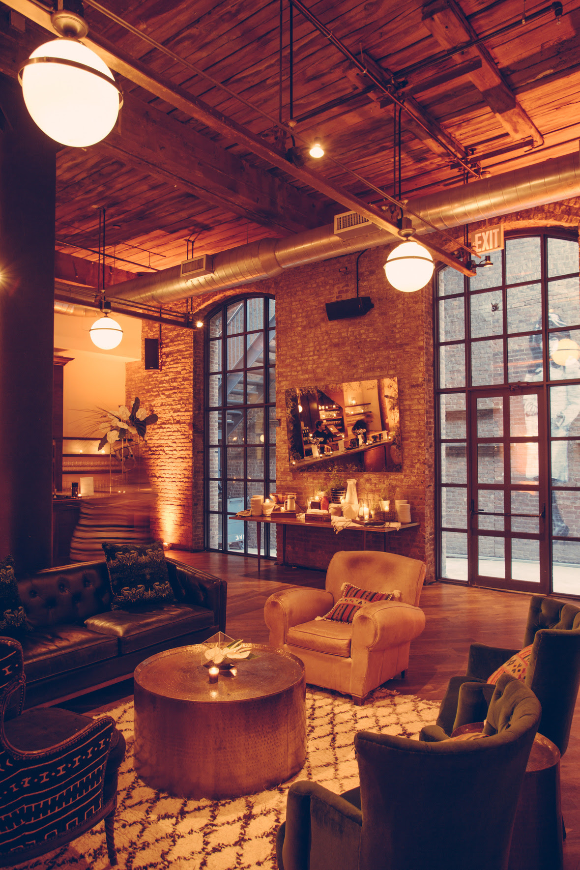 Main Hall at Wythe Hotel. Lounge by Patina Rentals.