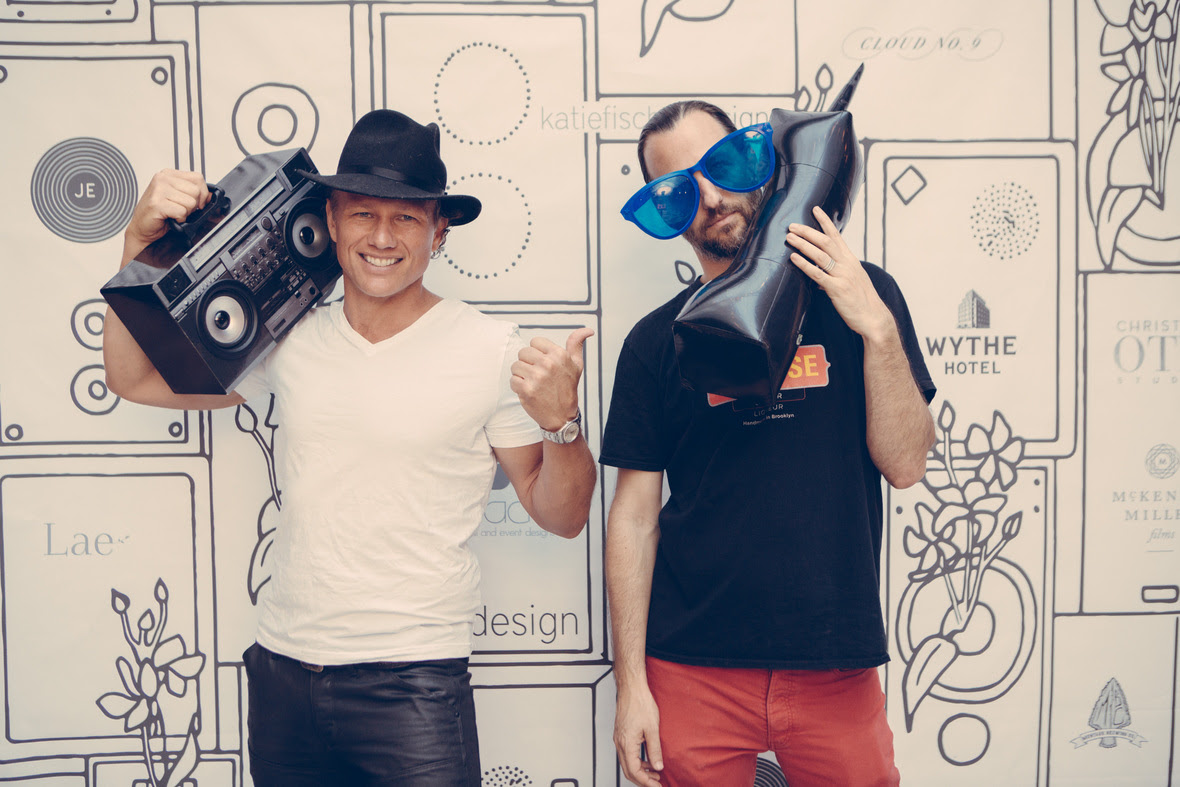 Ray Jarrell and Josh Morton (Barrow's Intense). Photobooth by Hello Photobooth with a Katie Fischer Design backdrop.