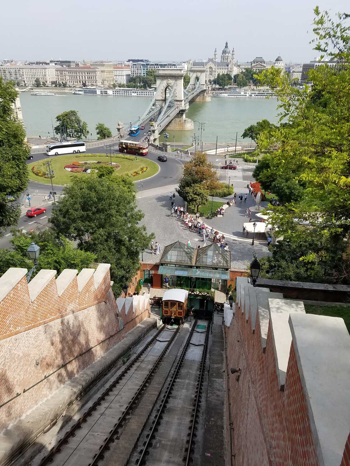 A classic Budapest vista — the famous Castle Hill Funicular and Chain Bridge beyond. The Funicular, built in the 1800s, slowly carries passengers from the square below up to the top of Castle Hill.