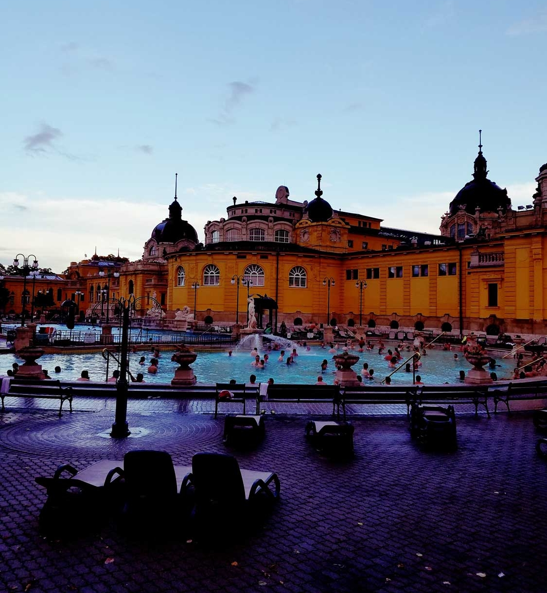 The Hungarian bath houses in Budapest have many different pools of varying temperatures inside and out. The interior rooms have striking Roman architecture.