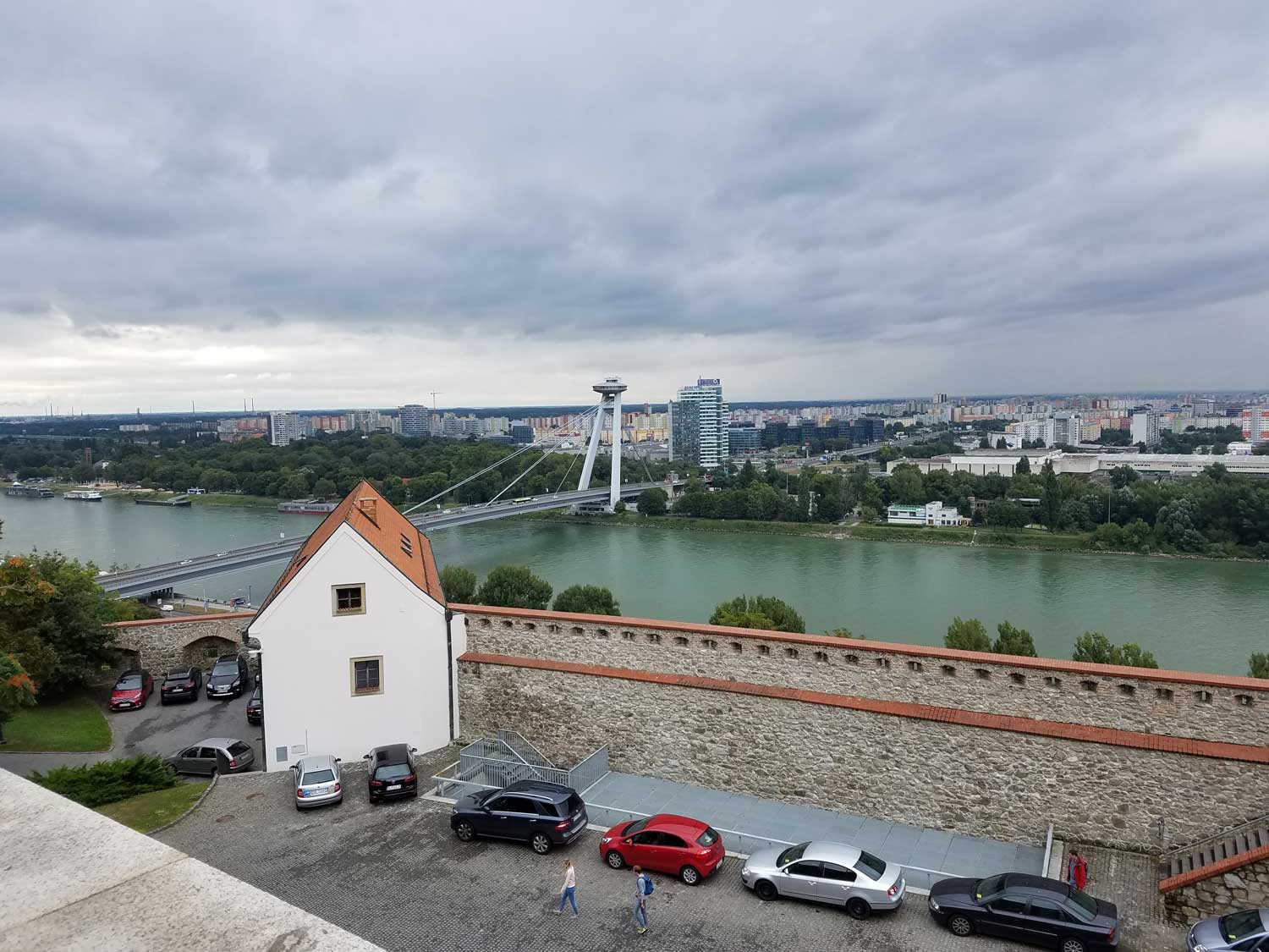 Looking across the Danube toward Austria from Bratislava Castle, which dominates the hilltop looming over the city.
