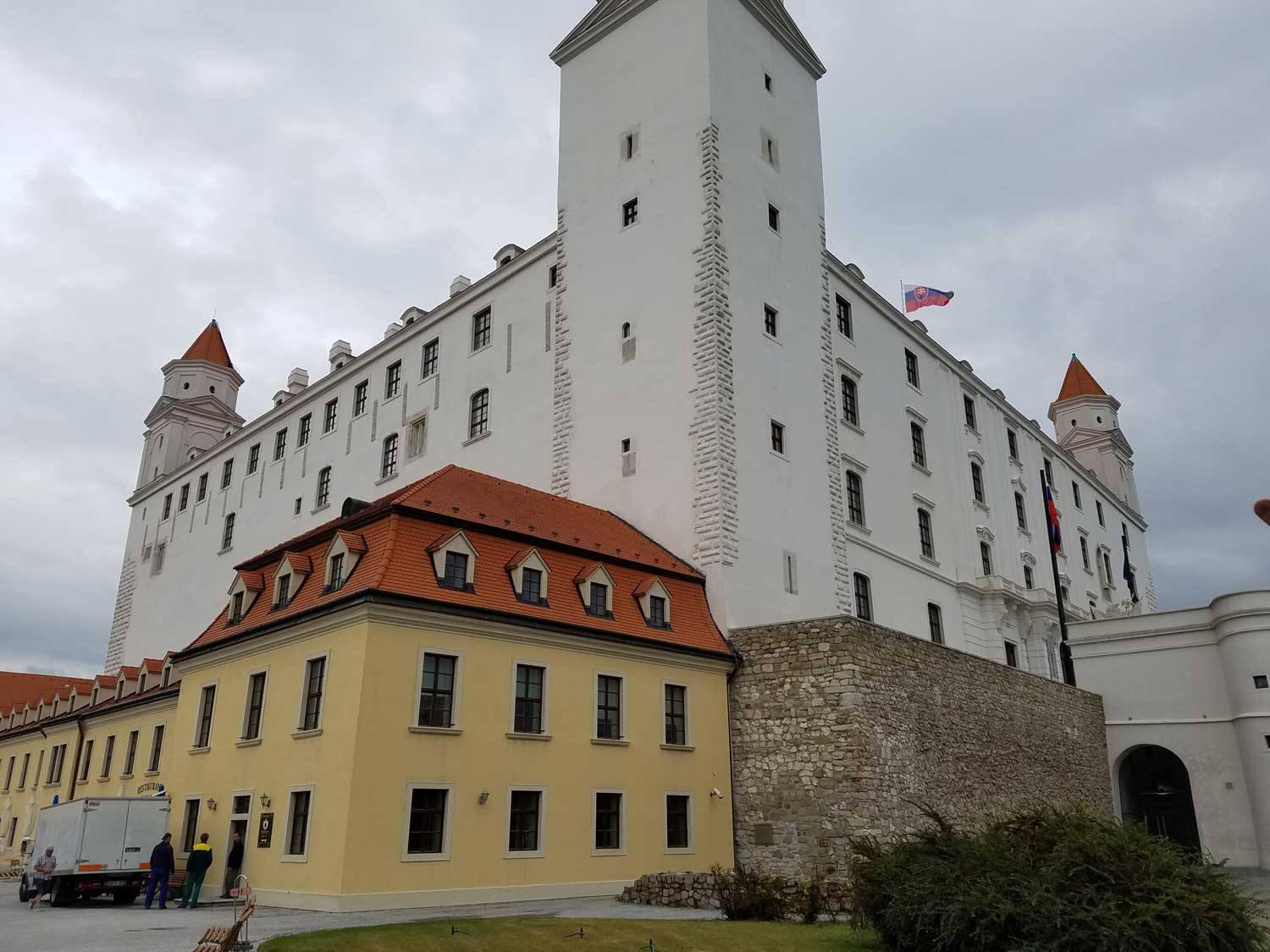 The hulking Bratislava Castle dates back to the 10th century, but the hill where it is located has been a key strategic stronghold for thousands of years, from ancient tribes to the Celts and Romans to the Slavs and the Kingdom of Hungary. In 1809, it was bombarded by Napoleon's army, and it suffered severe fire damage three years later, then lay in ruin for more than a century. It was restored after WW2.