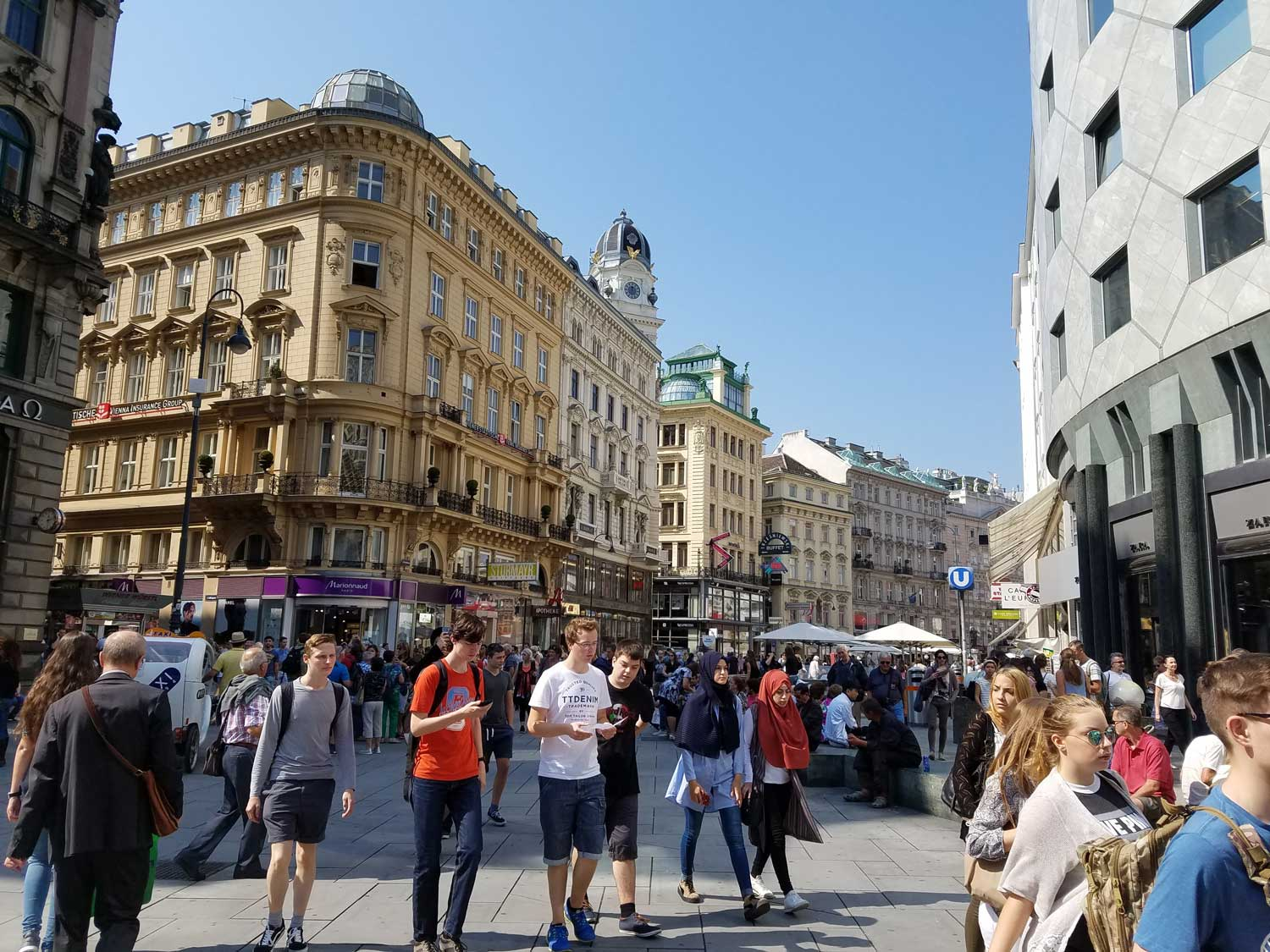 The main shopping district in the heart of Vienna is bustling with life and culture. Love those old Viennese buildings and winding pedestrian-only streets.