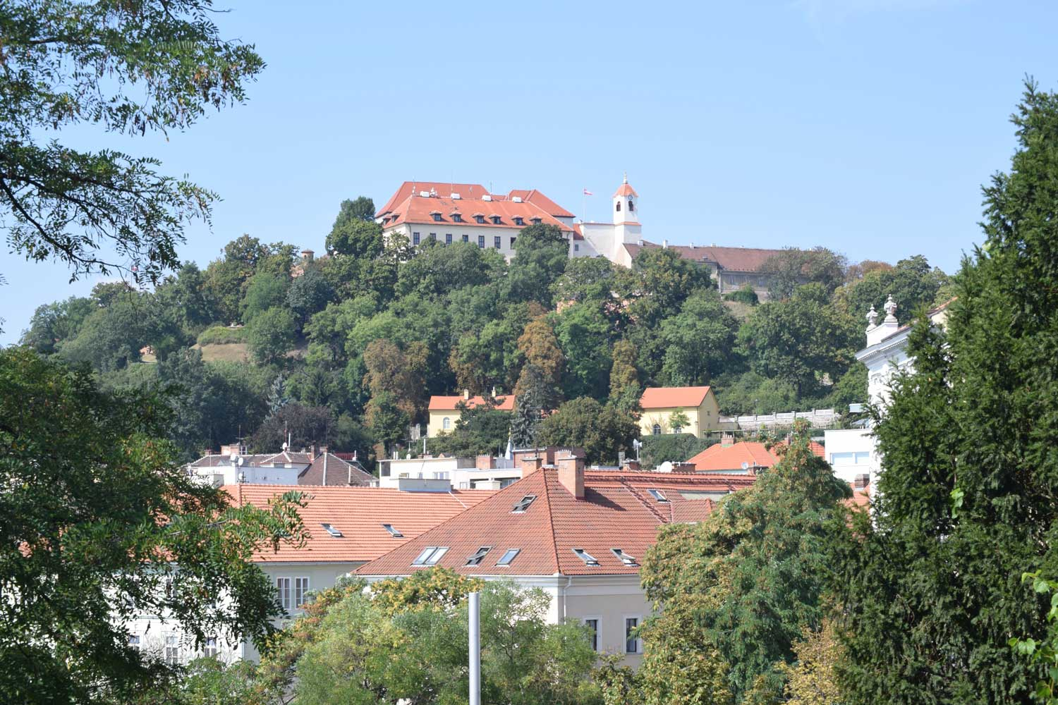 That castle up on the hill was a key piece of Brno's defenses. They are very proud of the fact that they withstood a 4-month siege by the Swedes in 1645, toward the end of the 30 Years' War.