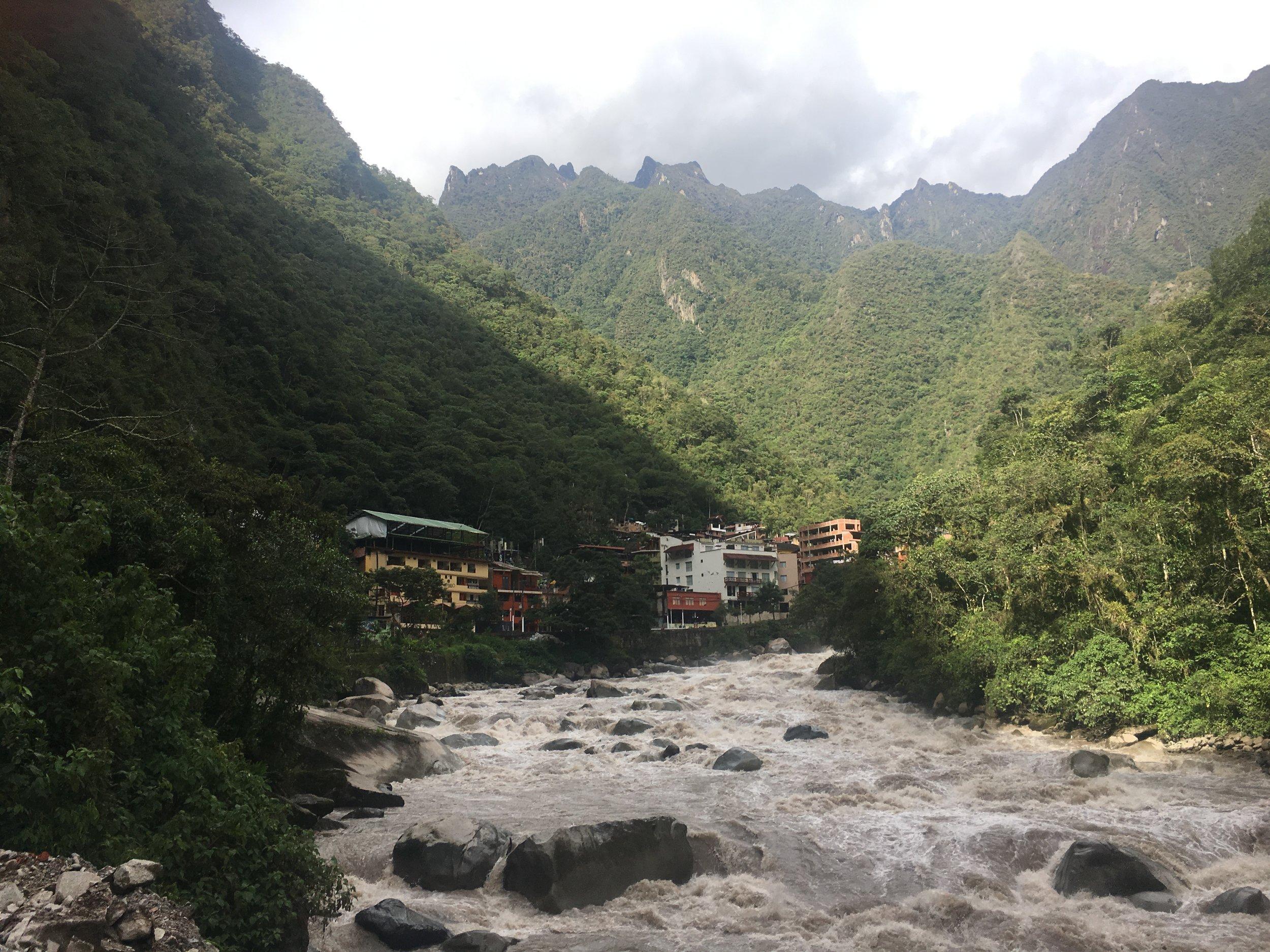 Aguas Calientes, aka Machu Picchu Pueblo - nestled in the Andes Mountains along the Urubamba River.