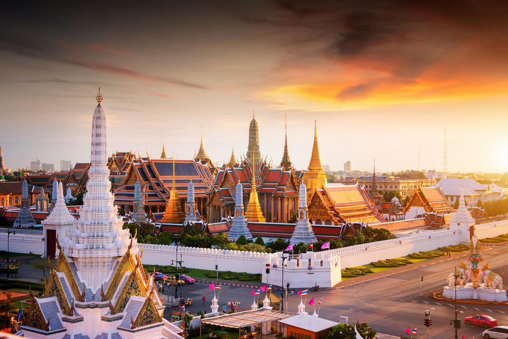 Sunset at the Grand Palace in Bangkok, Thailand