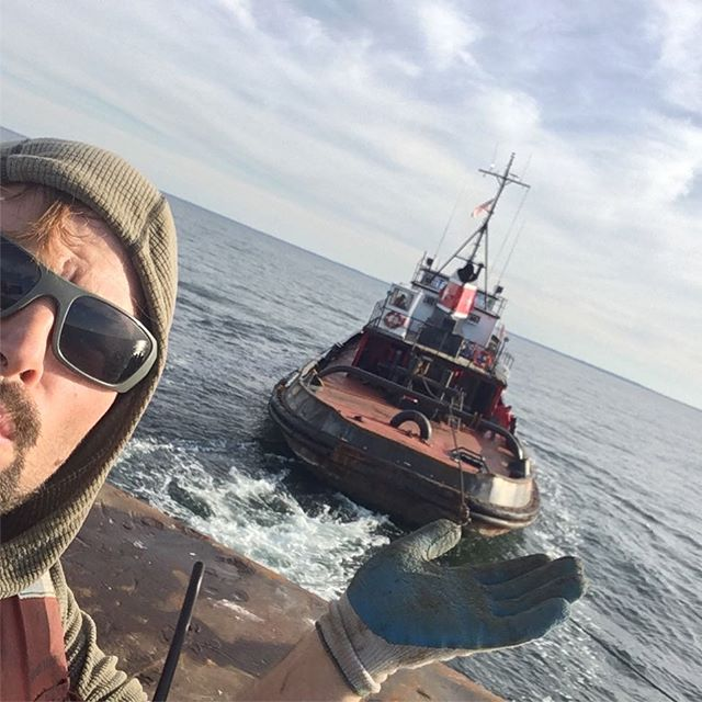 Can you hold a tugboat in one hand?! #adventureforwork #tugboat #sailing #capecod #tugmorgan