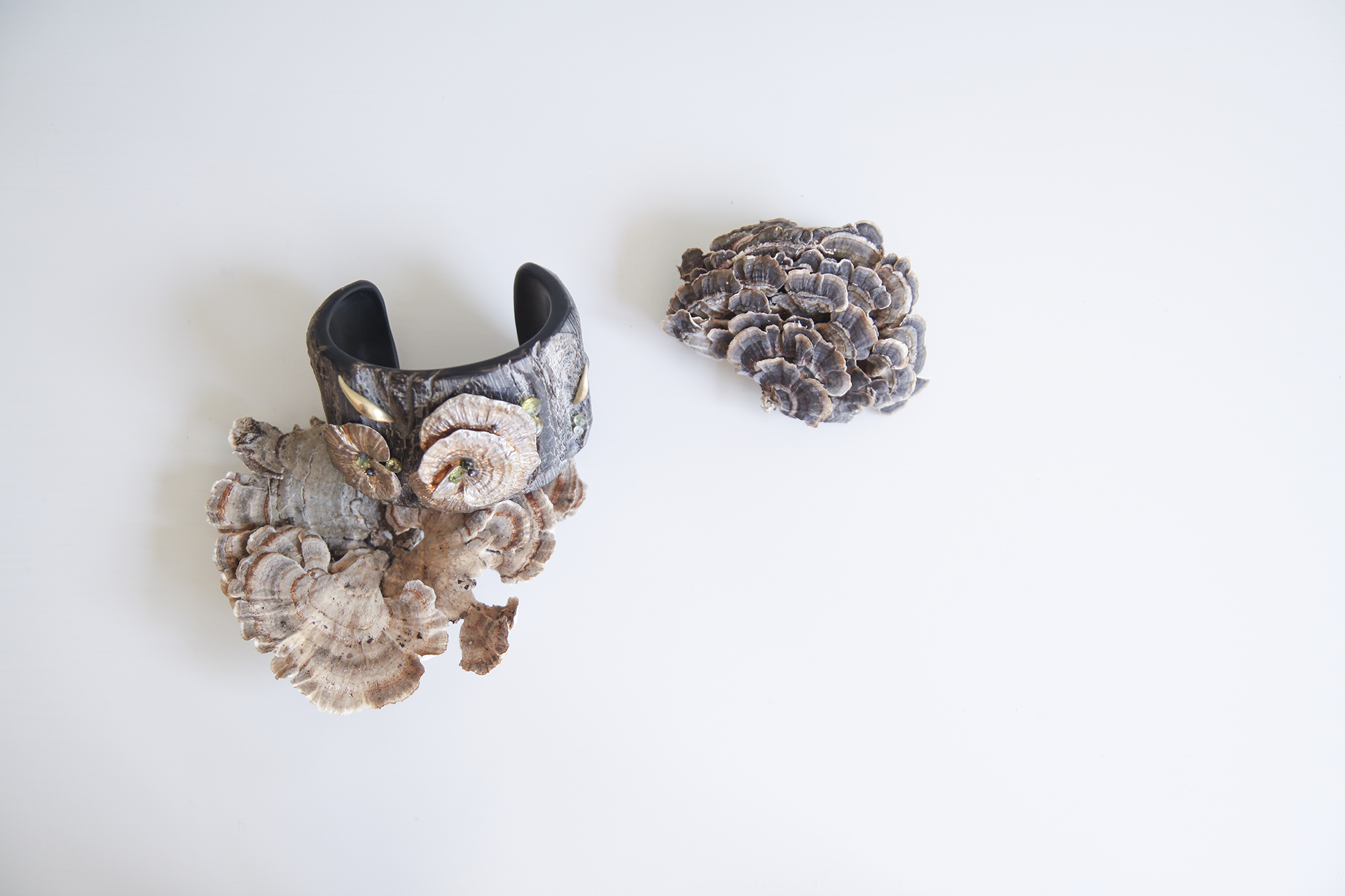 Horn Cuff with Silver Mushrooms, 18ky Slug, Citrine and Black Diamonds
