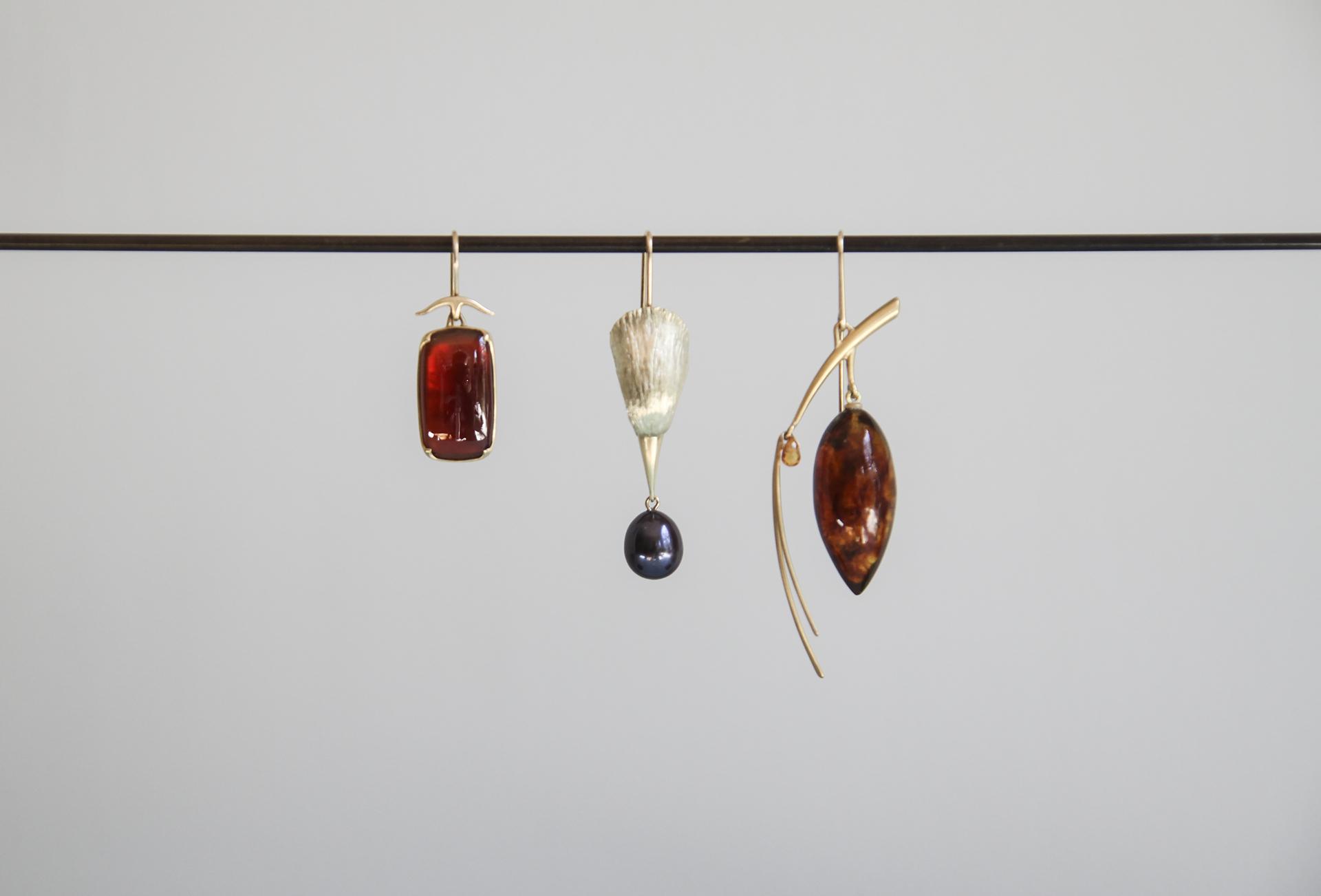 Garnet Rectangular Cabochon Earring,  14k Gold Bird Head Earring with Black Pearl Egg, Amber Pinecone Earring