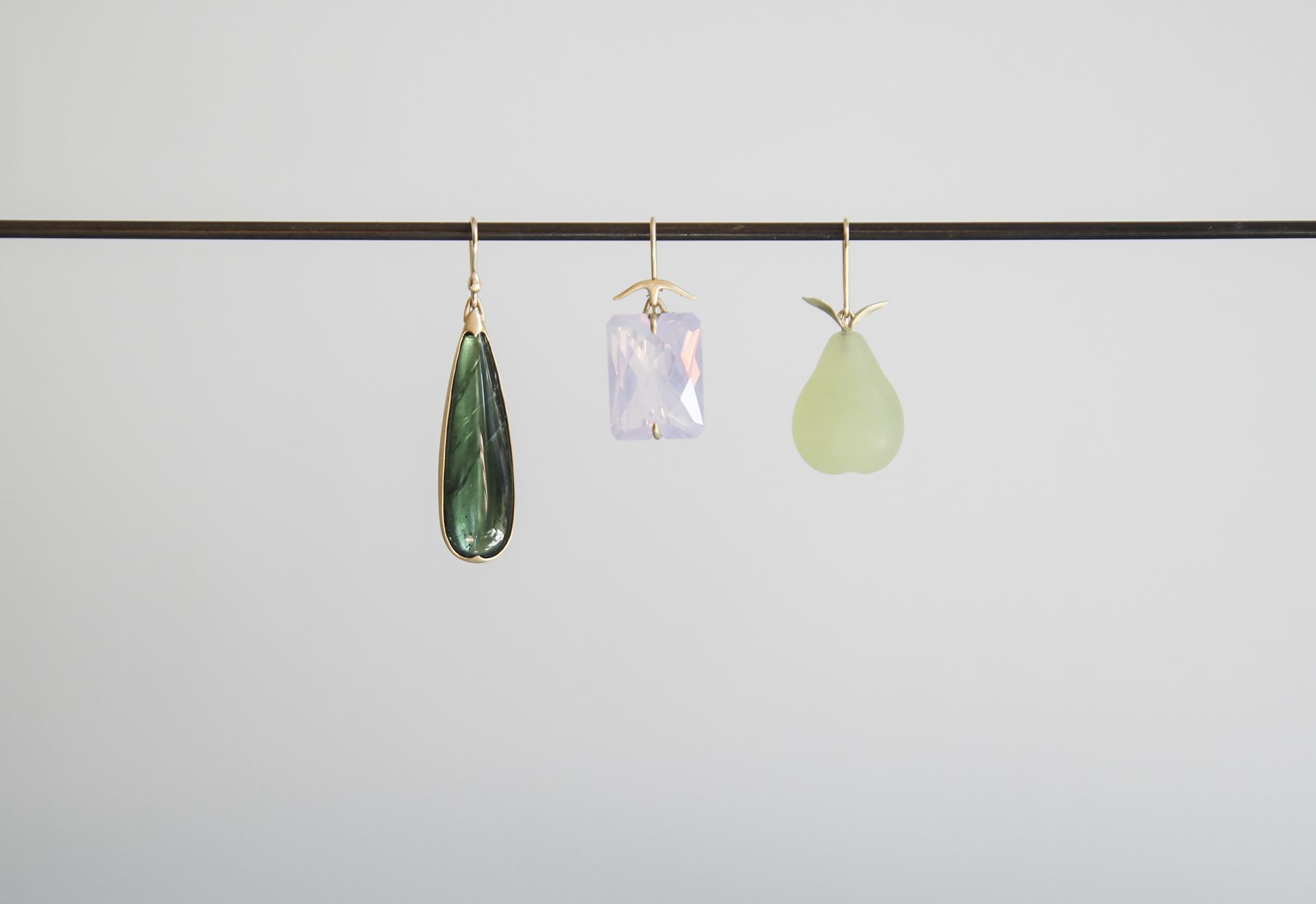 Green Tourmaline Drop Earring, Faceted Lavender Quartz Earring, Serpentine Pear Earring