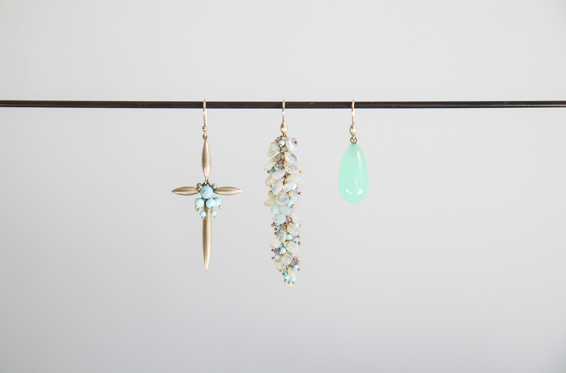 10ky Gold New Cross Earring with Sleeping Beauty Turquoise, Ethiopian Opal, Labradorite and Sleeping Beauty Turquoise Pussywillow Earrings, Handcut Chrysophrase Earrings.