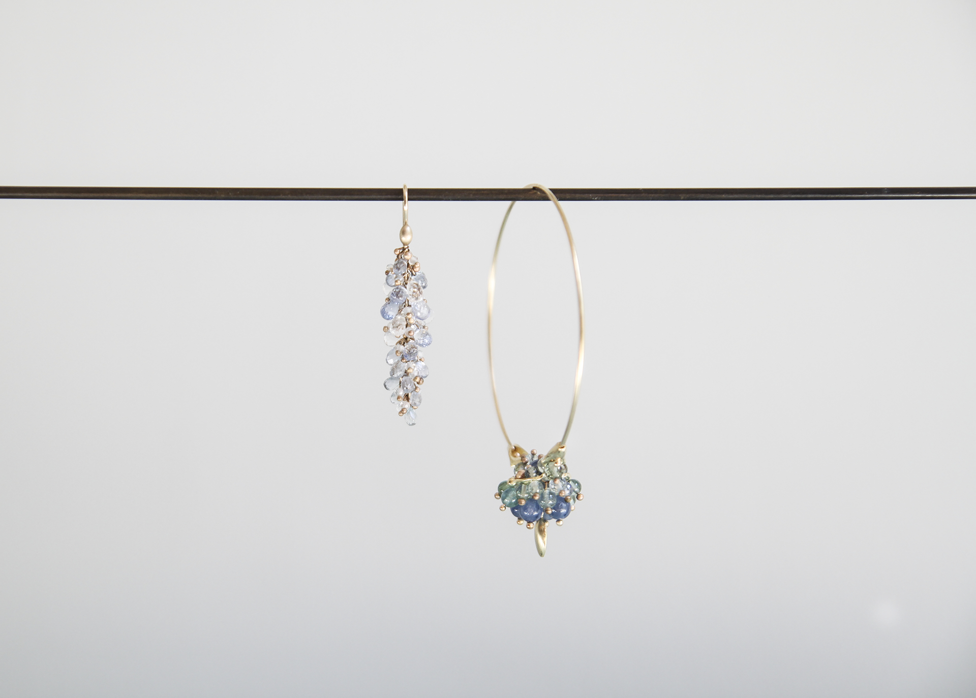 Blue Sapphire and Keshi Pearl Pussywillow Earrings, Medium 18ky Gold Hoop Cluster Earrings with Kyanite, Blue Sapphires, and Aquamarine