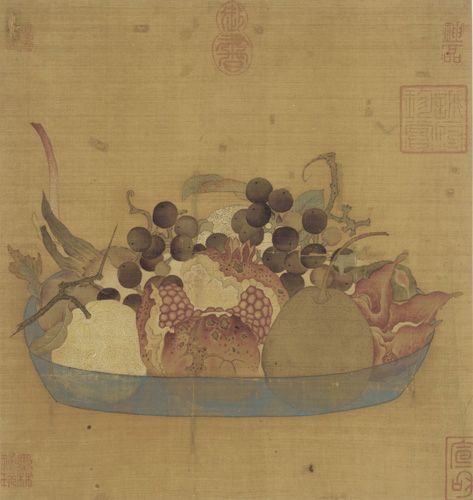 Ming Dynasty Silk Painting of Fruit in Blue Bowl, 27 cm h, 14th-17th c.
