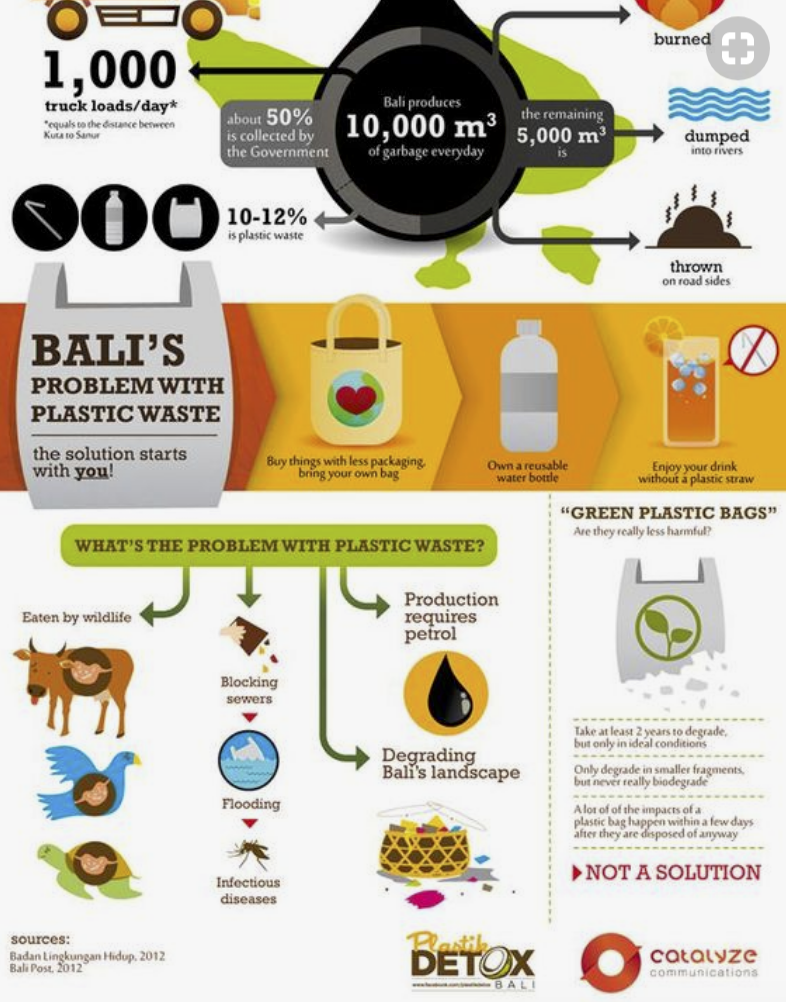 This illustration found on Pinterest highlights Bali's problem with plastic waste.