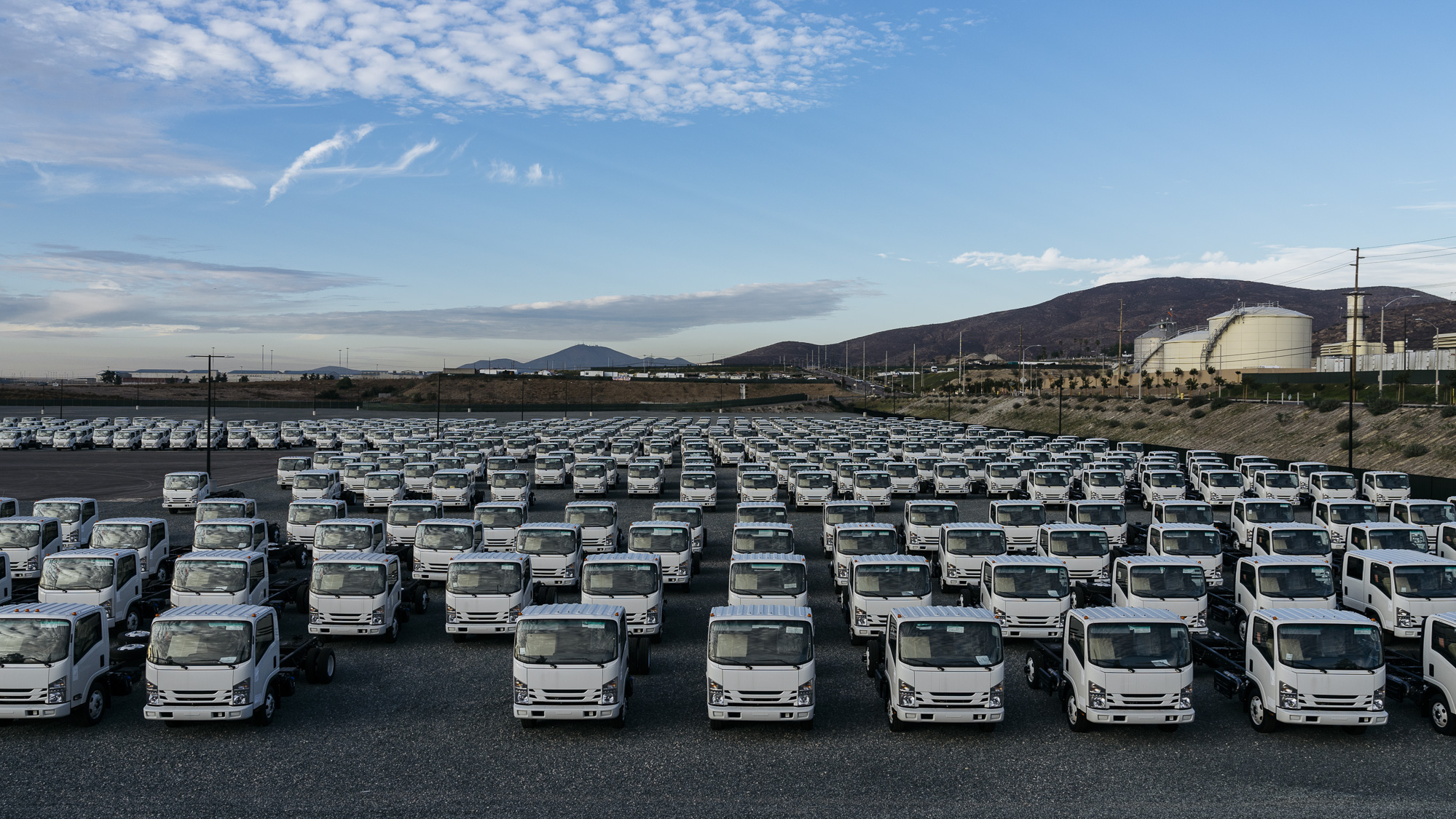 IMAGE CAPTION:  New truck components await transport in Otay Mesa, California. Legal two-way trade between the United States and Mexico amounts to more than $1 billion a day.