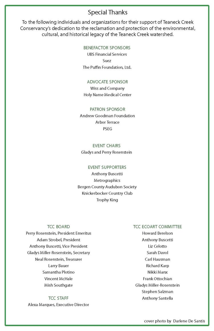 2017 Sustainability Dinner — Teaneck Creek Conservancy