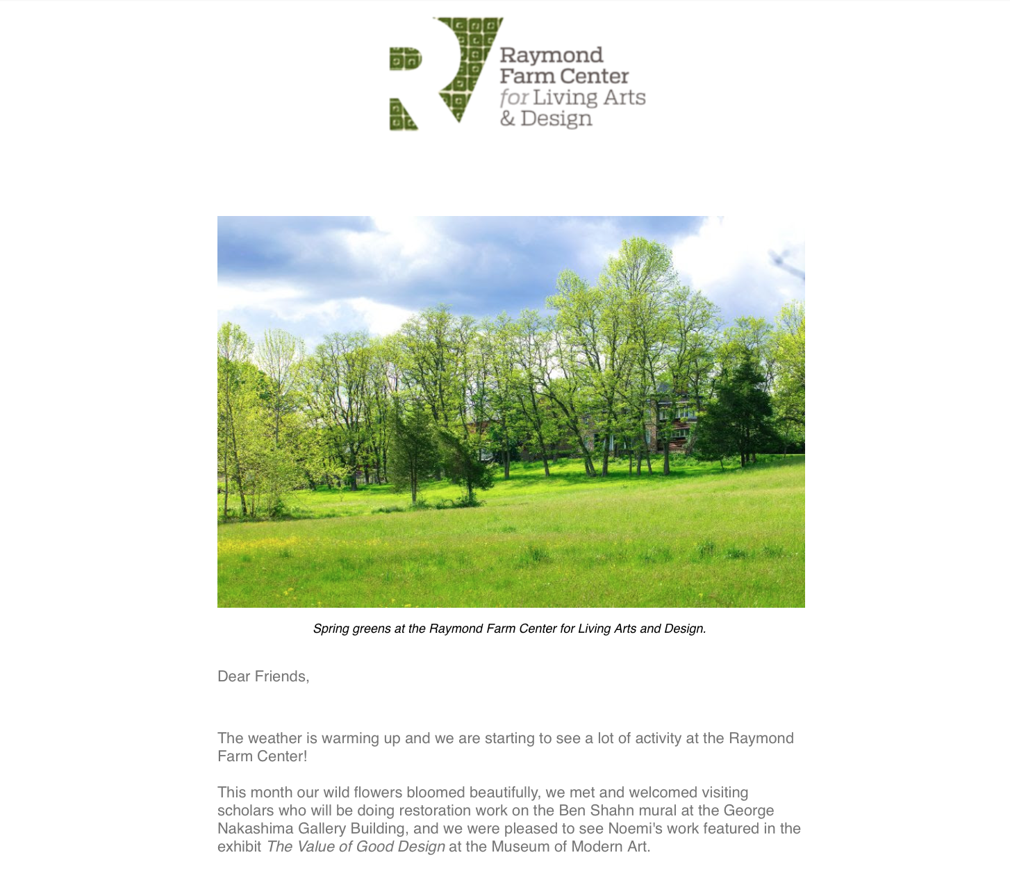 Past Newsletters - Read the monthly newsletters that covers what's been happening on the farm, upcoming events, and exhibits & research that highlights works done by Antonin and Noémi.Sign up to receive monthly RFC newsletters right in your inbox!