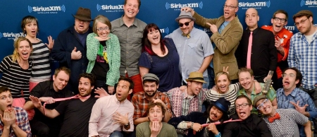 A Song Swap at SiriusXM Kids Place Live: Mindy and I are at lower right, with a bunch of friends from the kids/family music world!