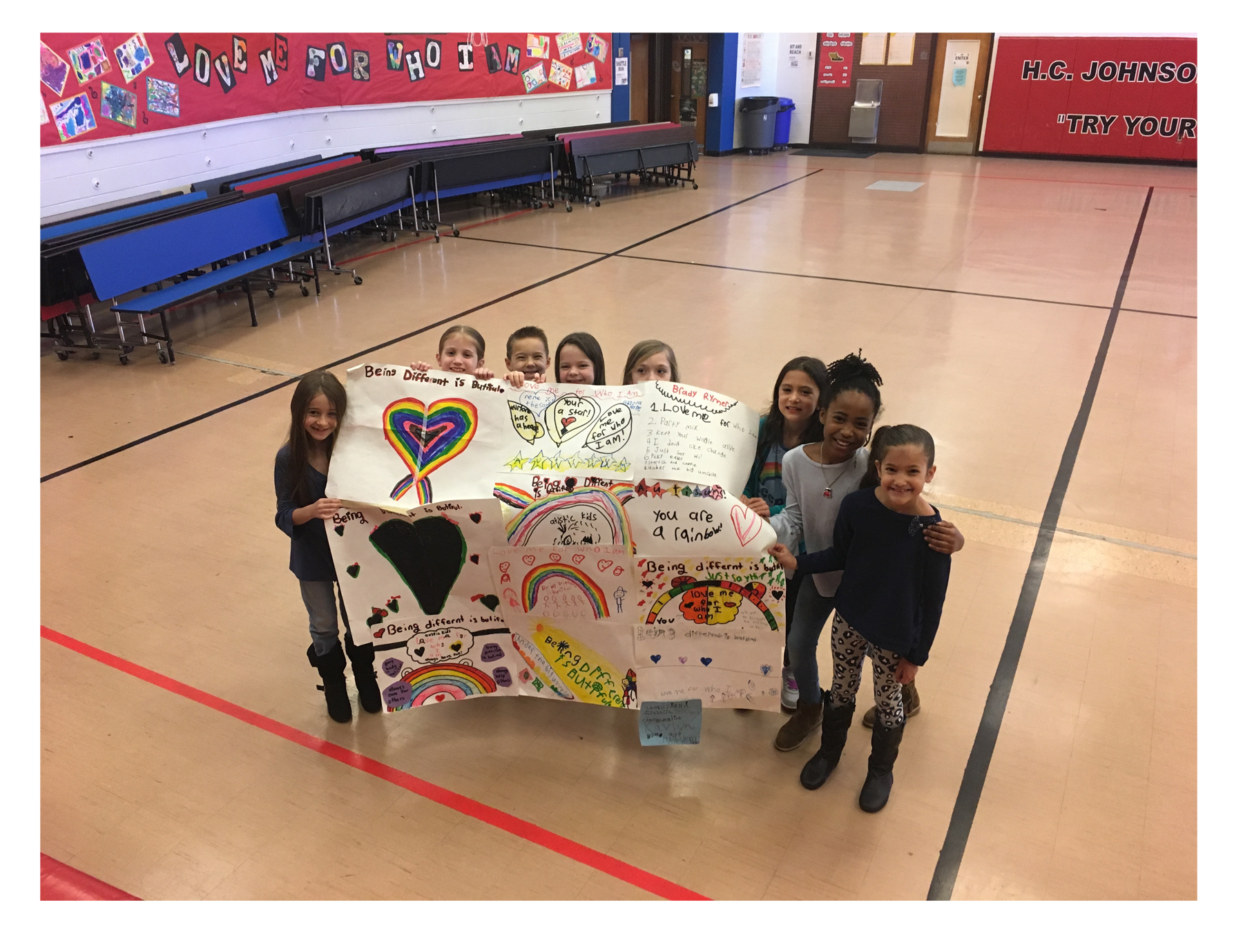 """H.C. Johnson Elementary School kids ready for our """"Love Me For Who I Am"""" concert!"""