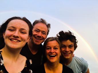 My family & I catchin' a Father's Day rainbow ~ Greenport, NY 2016