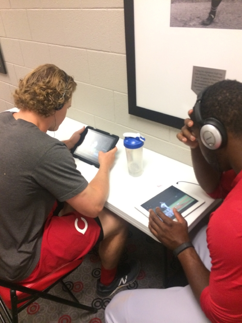 Reds players taking the Pitch-IQ test