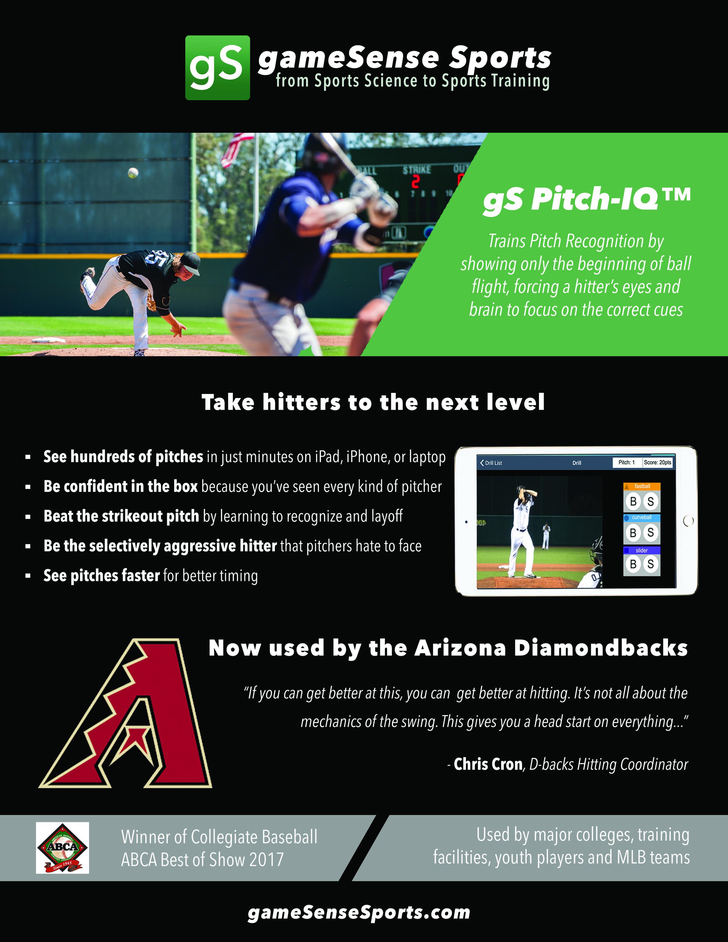 Arizona Diamondback works with gameSense Sports Pitch Recognition Software