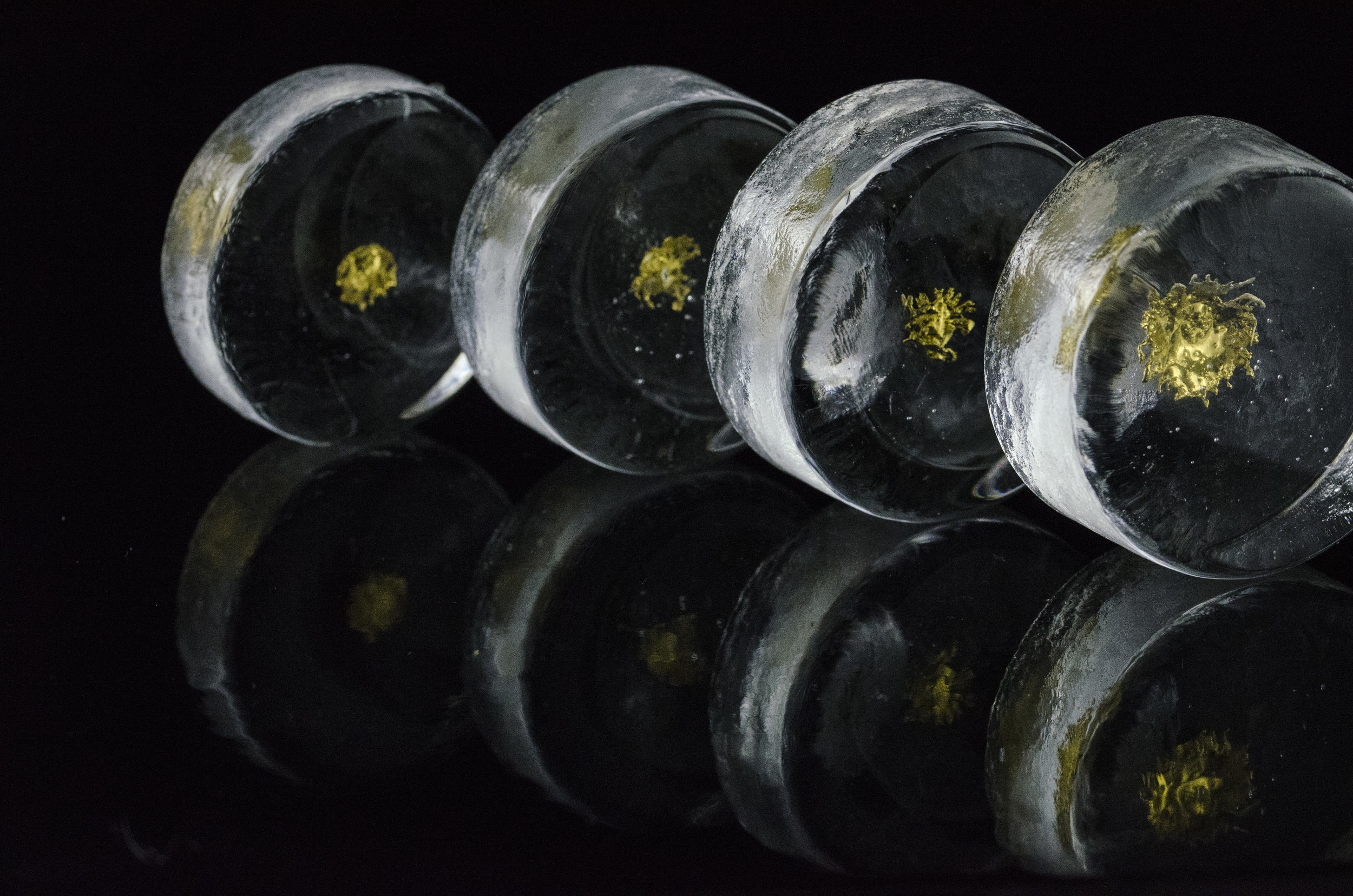 Series of Waken Glass rounds with 24K gold