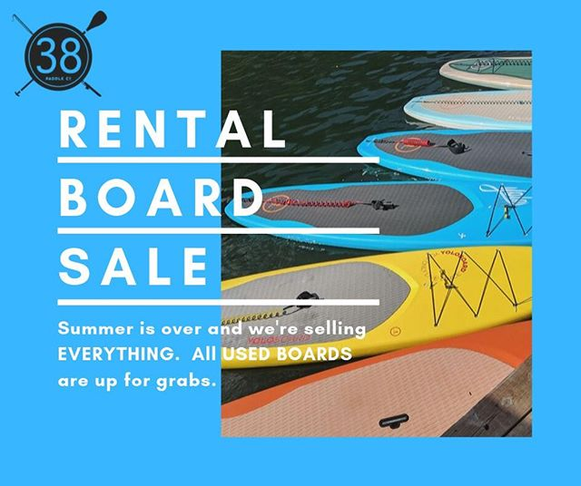 I will be posting our used inventory on Facebook Marketplace over the next few days.  Stay tuned for photos and pricing.  If you've been looking to purchase a great board for all skill levels, we've got what you need, priced to sell.