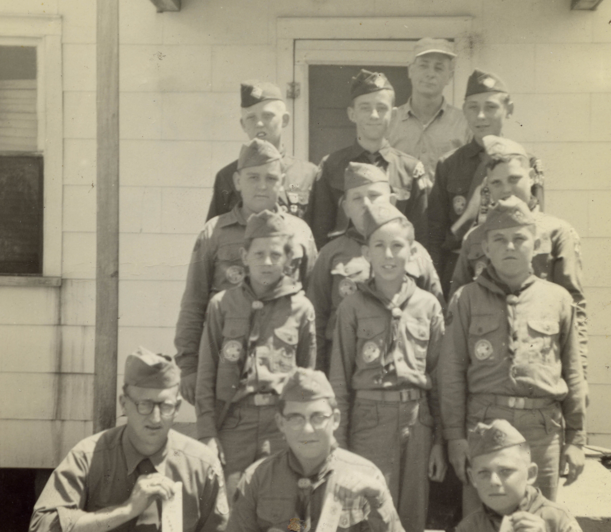 Stacy Boy Scout Troop in front of the Stacy Woodmen of the World Lodge