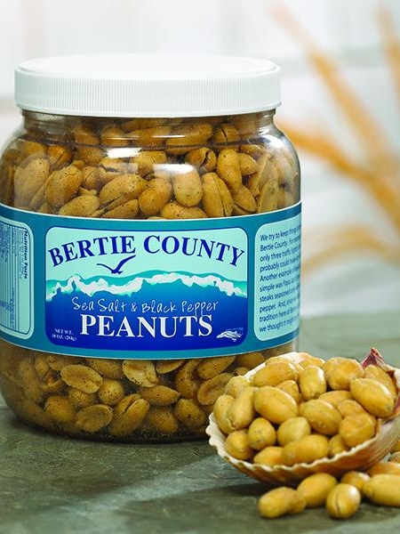 Bertie County Peanuts - No one does blister fried peanuts better than Bertie County. Using locally grown peanuts, we offer a host of varieties including: Sea Salt + Black Pepper, Bachelor Bay, and Goober & Sticks.
