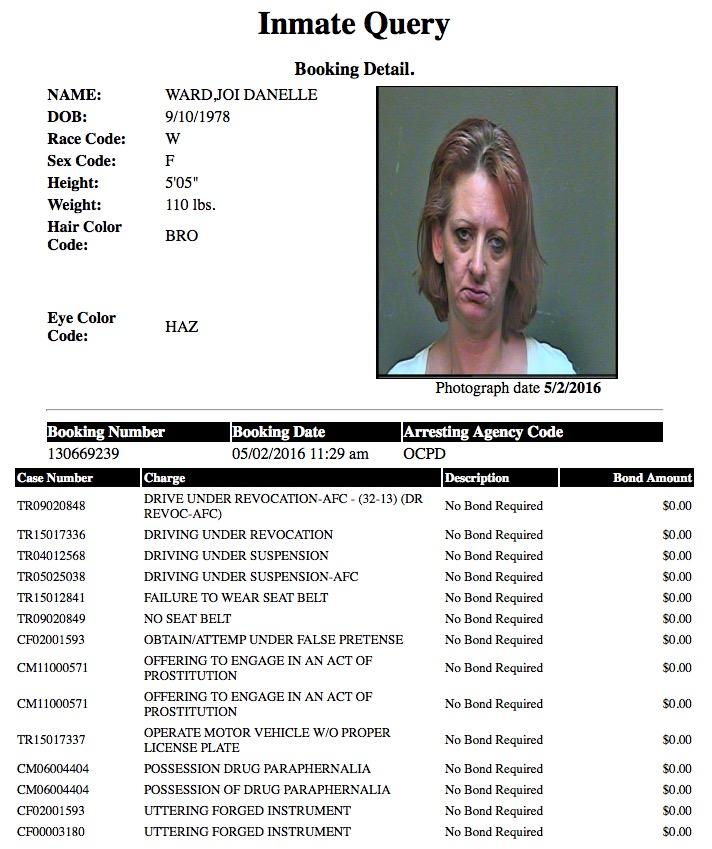 Ward Joi Danelle Mugshot Prostitute 2016-05-02.jpg
