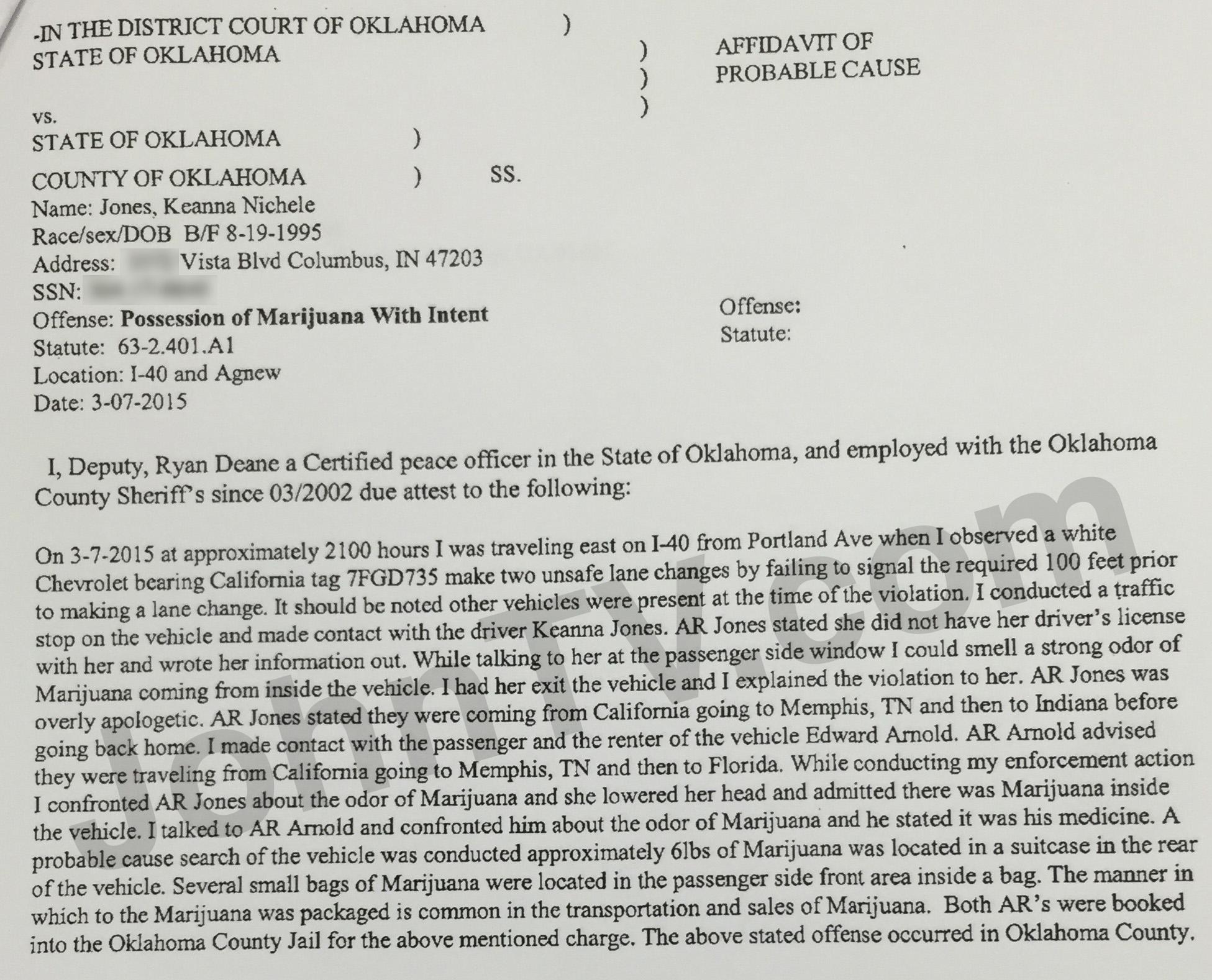Keanna Jones and Edward Arnold's probable cause affidavit.