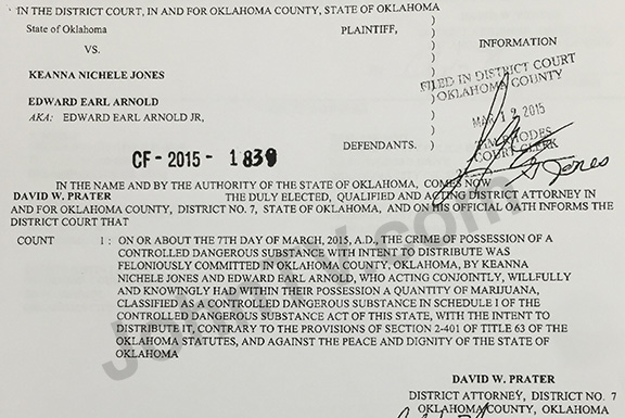 Formal charges as filed against Keanna Jones and Edward Arnold.