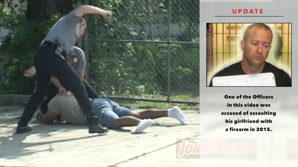 This clip is from my infamous 'Donald Pete' violent arrest video - recorded on  July 8, 2002.  You can view that video by clicking here . On July 10, 2015, one of the officers in the video - Greg Driskell - was  charged with felony domestic abuse and pointing a weapon.   That case is still active (link) .
