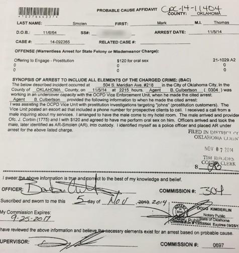 OCPD report regarding Mark Smolen's prostitution arrest.
