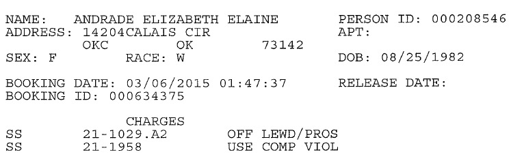 Elizabeth Andrade's OCPD Jail Booking Record.