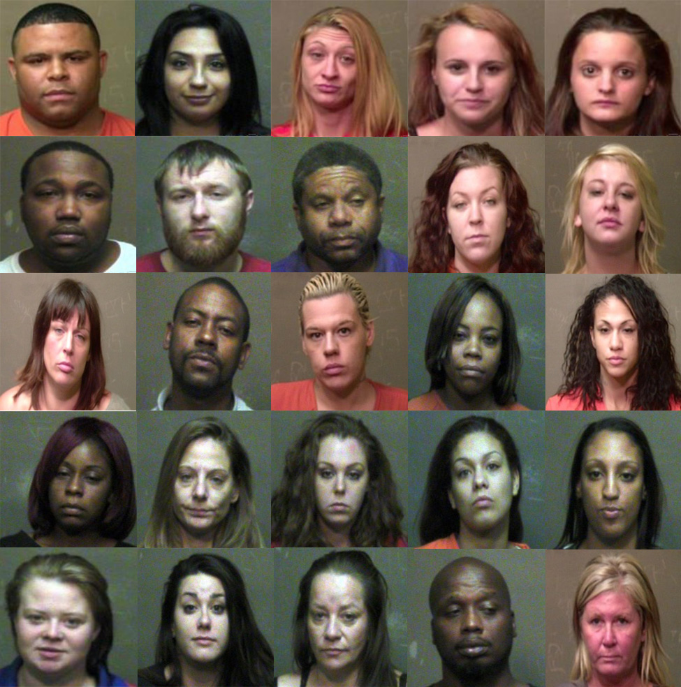 (above) Mugshots of twenty five individuals arrested during Operation Cross Country on prostitution related offenses.