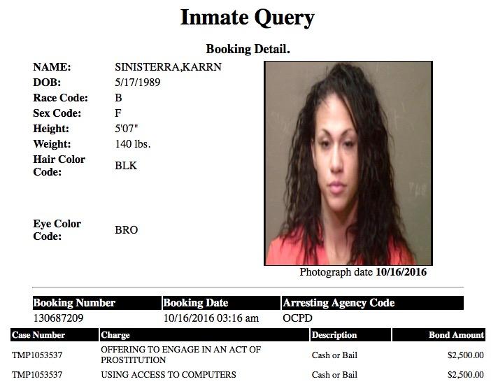 Sinisterra Karrn Mugshot Prostitute 2016-10-16.jpg