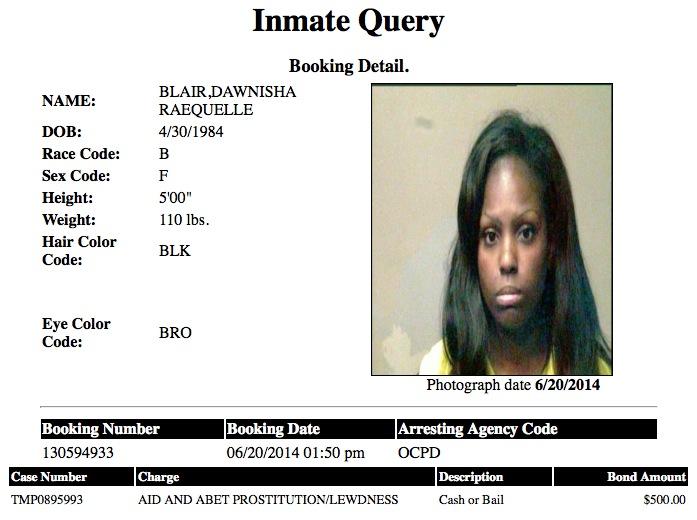 Dawnisha Raequelle Blair 30 Mugshot Prostitute 2014-06-20.jpg