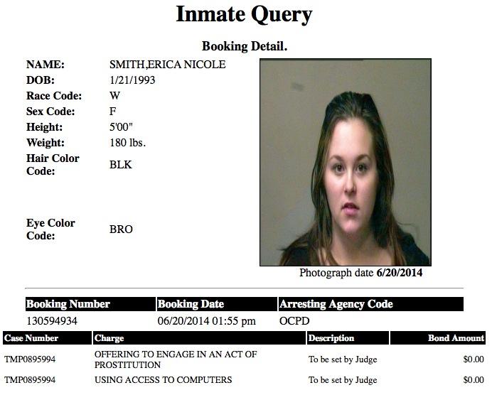 Erica Nicole Smith 21 Mugshot Prostitute 2014-06-20.jpg