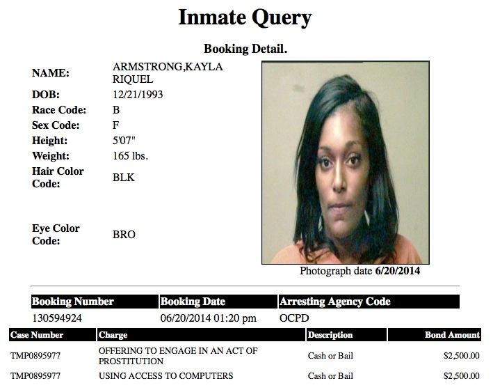Kayla Riquel Armstrong 20 Mugshot Prostitute 2014-06-20.jpg