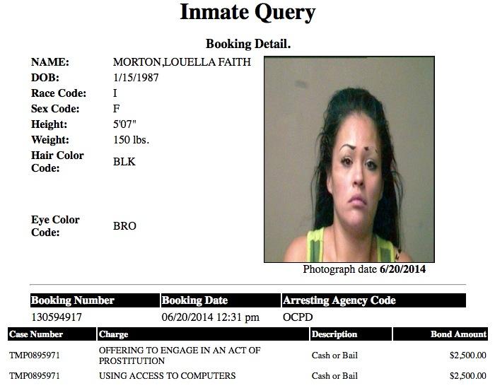 Louella Faith Morton 27 Mugshot Prostitute 2014-06-20.jpg