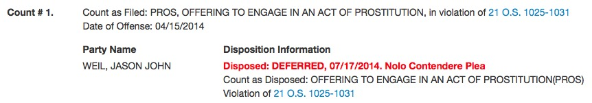 Jason Weil's criminal charge as it appears on OSCN.