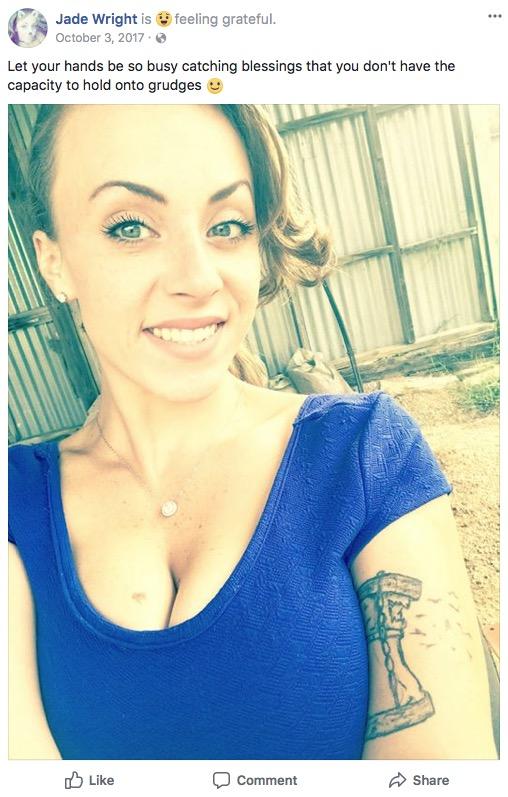 Alexandria 'Jade' Wright public Facebook post just days before her murder.