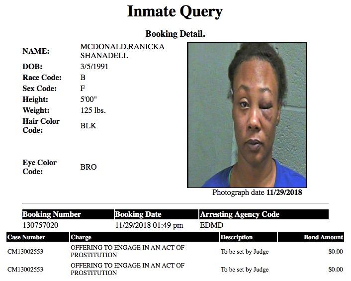 McDonald Ranicka Shanadell Mugshot Prostitute 2018-11-29.jpg