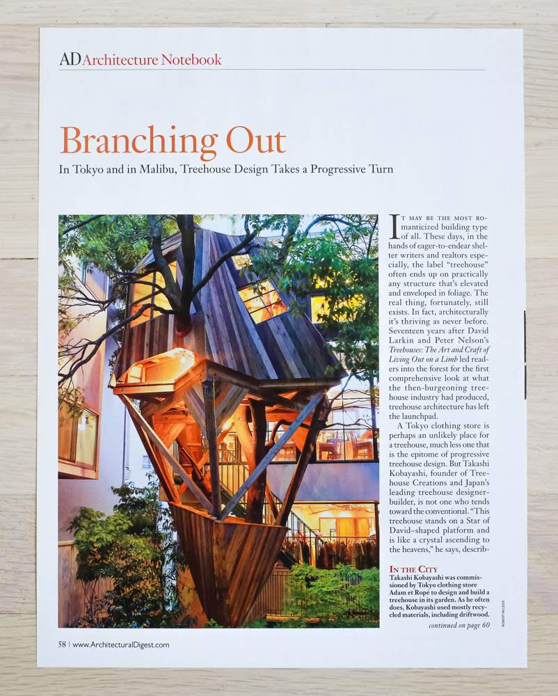 """""""Branching Out"""" by Richard Olsen.    Architectural Digest  , October 2010, """"Great Houses."""" Editor-in-Chief, Paige Rense-Noland. Senior Editor (Architecture),Richard Olsen. Conde Nast Publications, Inc."""