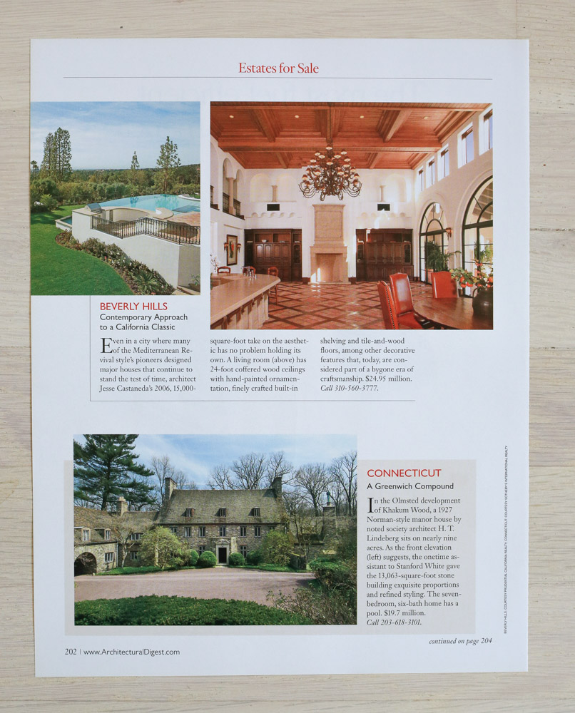 A    rchitectural Digest  , September 2007, Designer's Own Homes Issue. Editor-in-Chief, Paige Rense-Noland. Art Director, Jeffrey Nemeroff. Senior Editor (Architecture) and Real Estate Editor,Richard Olsen. Conde Nast Publications, Inc.