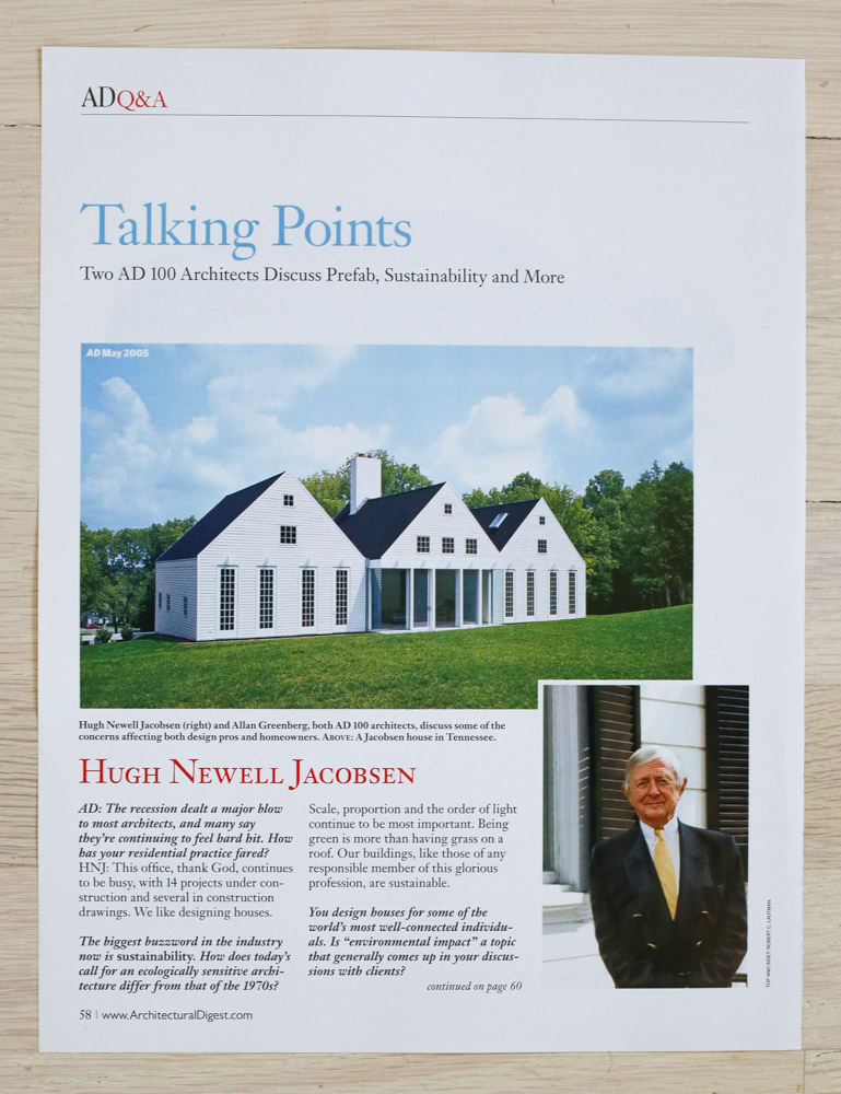 """""""Talking Points"""" by Richard Olsen.   A    rchitectural Digest  , November 2010. Editor-in-Chief, Paige Rense-Noland. Art Director, Georg Moscahlades. Senior Editor (Architecture) and Book-Reviews Editor,Richard Olsen. Conde Nast Publications, Inc."""