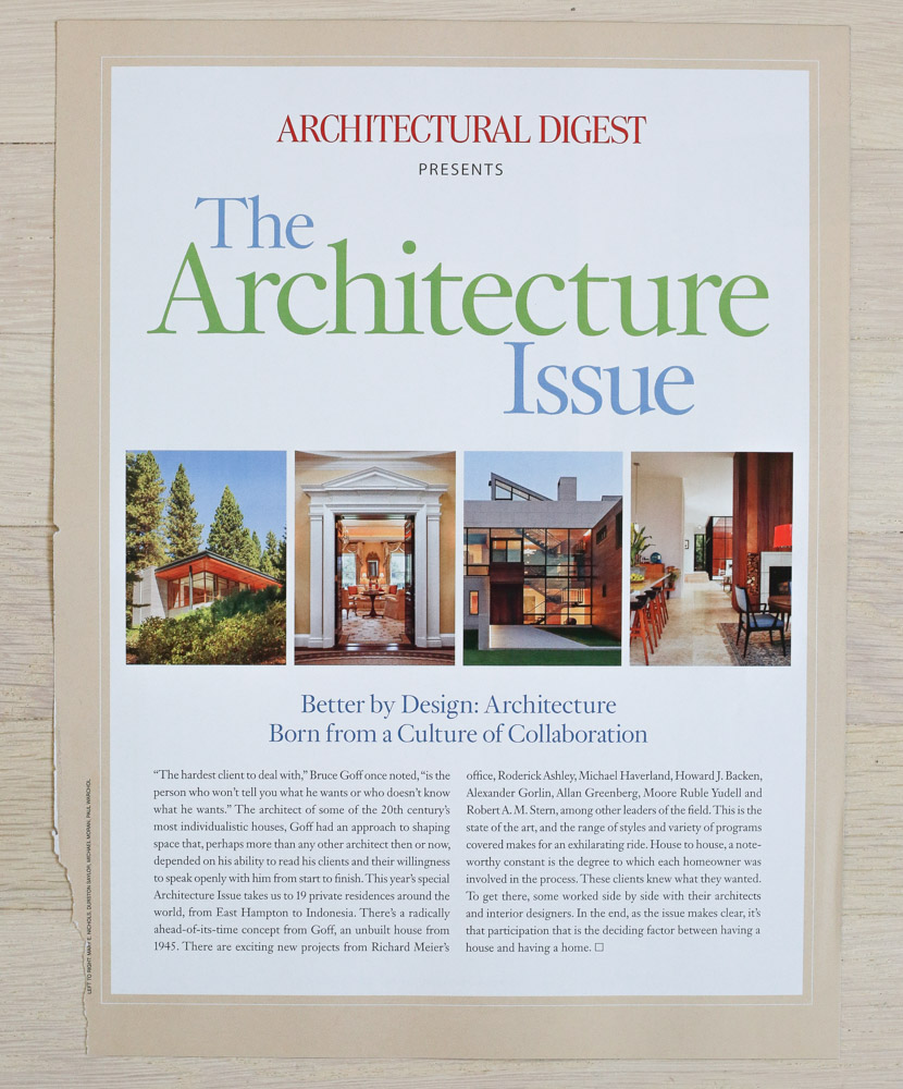 """Issue Intro by Richard Olsen.   A    rchitectural Digest  , October 2009, """"The Architecture Issue."""" Editor-in-Chief, Paige Rense-Noland. Art Director, Jeffrey Nemeroff. Senior Editor (Architecture) and Book-Reviews Editor,Richard Olsen. Conde Nast Publications, Inc."""