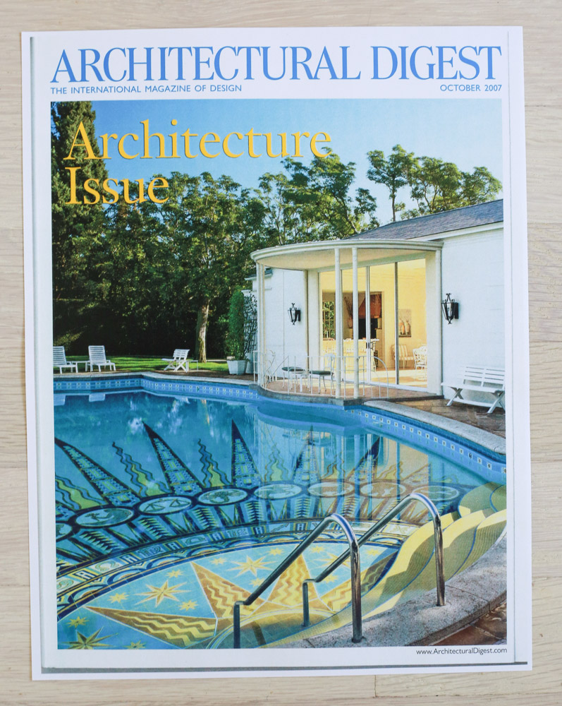 """A    rchitectural Digest  , October 2009, """"The Architecture Issue."""" Editor-in-Chief, Paige Rense-Noland. Art Director, Jeffrey Nemeroff. Senior Editor (Architecture) and Book-Reviews Editor,Richard Olsen. Conde Nast Publications, Inc."""